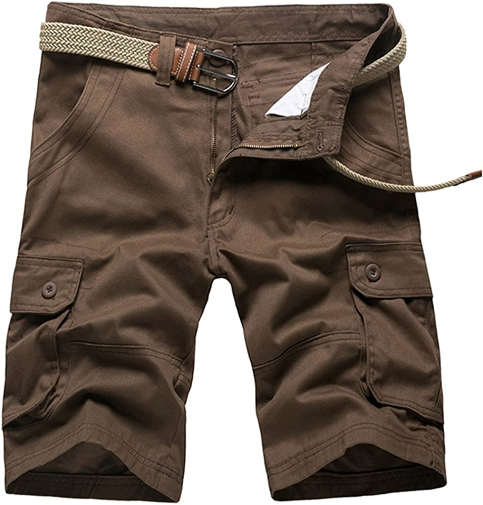 AKARMY Men's Lightweight Cotton Cargo Shorts,Relaxed Fit Casual Multi-Pocket Outdoor Shorts