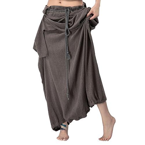 d26522d70e9a Outline Women s Boho Wide Leg Plus Size Trousers Vintage Linen Loose Fit  Pants with
