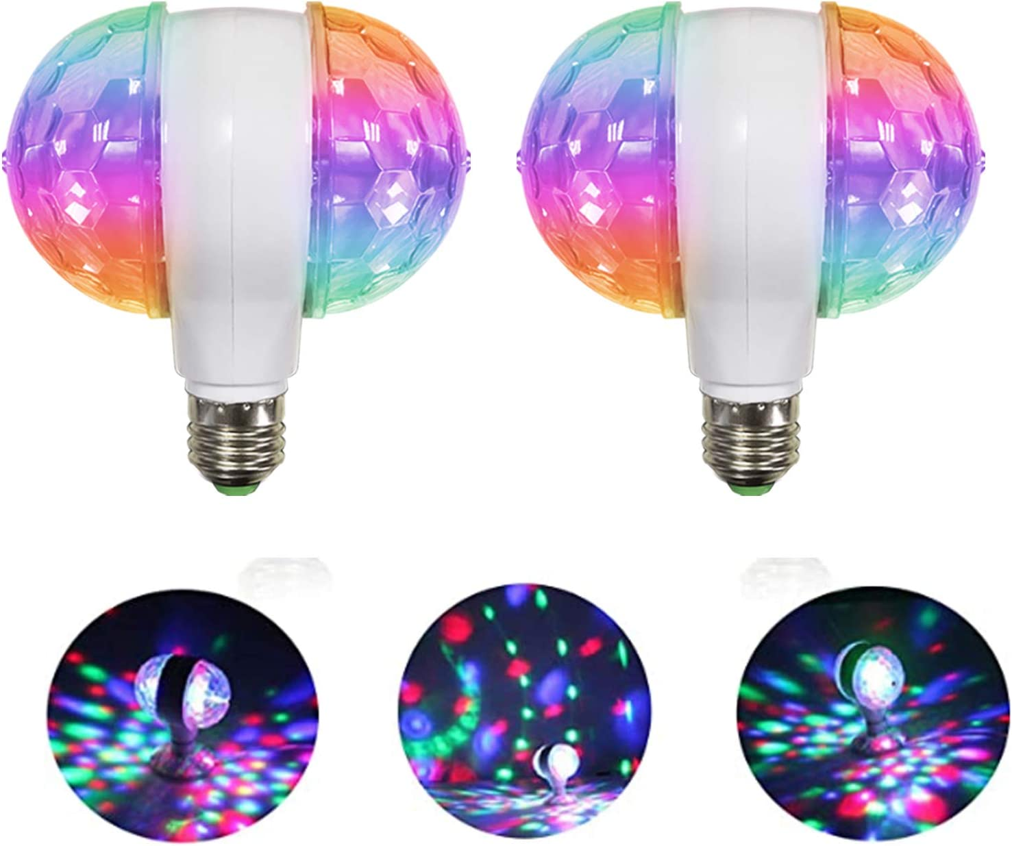 MINO ANT Disco Ball Light Strobe Lights for Parties- 6W E27 RGB Multicolor Led Party Disco Lights Strobe Light DJ Stage Light Bulb Decor for Birthday, Disco, Club, Bar, Home Party, Christmas(2 Pack))