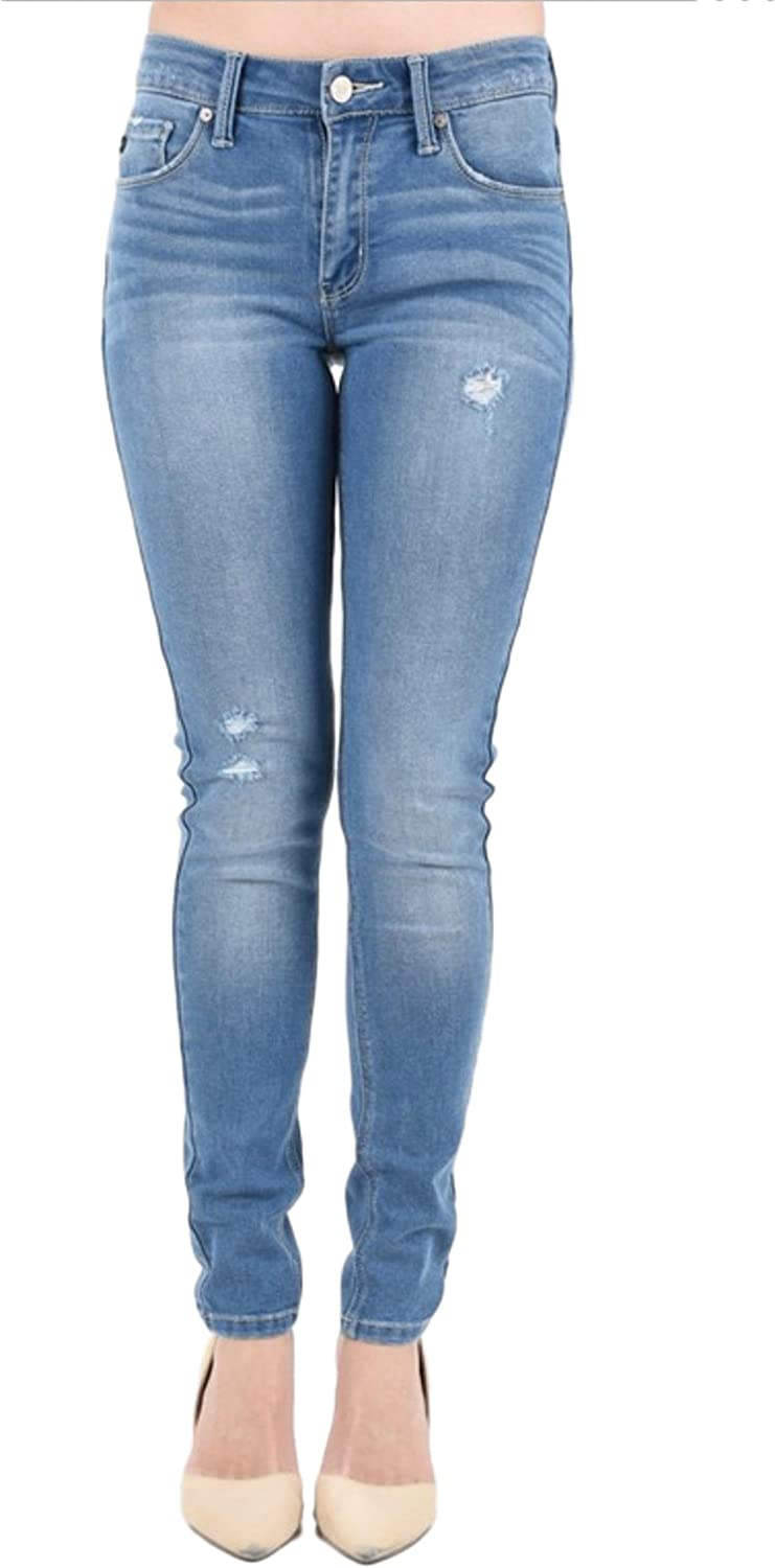KAN CAN Women's Mid Rise Destroyed Skinny Jeans