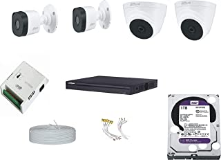 DAHUA 4K Full HD 5MP Cameras Combo KIT 4CH DVR+ 2 Bullet Cameras + 2Dome Cameras+1TB Hard DISC+ Wire ROLL +Supply & All Re...