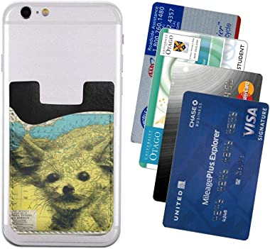 Plush Fennec Fox Map Baby PU Leather Business Id Card Package RFID Credit Card Holder Clip Sleeve Wallet for Vehicle Car Luggage Door iPhone Samsung Huawei Cell Phone Case