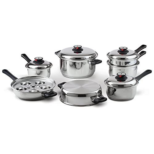 Maxam 9-Element Waterless Cookware Set, Durable Stainless Steel Construction with Heat and Cold