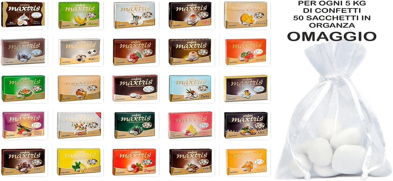 Confetti MAXTRIS Kit Angebot von 5 kg. Geschmack wählbar für confettate und Ereignisse + 50 Tüten aus Organza B07B2THTP6 Zu einem niedrigeren Preis | Moderater Preis