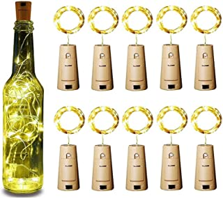 ZJDM Luces de Botella de Vino con Corcho, Paquete de 10 Luces de Hadas de Alambre de Cobre, lámpara de Botella, Blanco cál...