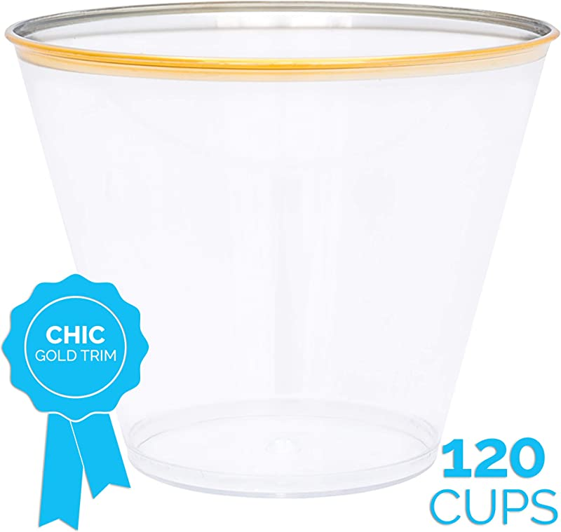 Gold Plastic Disposable Party Cups 120 X 9 Oz Elegant Gold Rim Trim Clear Cup Fancy Reusable Rimmed Glass Tumblers For Birthday Wedding Bar Parties Decoration Supplies Golden Trimmed Glasses