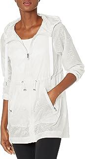 Calvin Klein Performance Women's Logo Print High Low Hem Hooded Jacket with Adjustable Bungee Waist and Zip Pockets