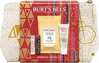 Burt's Bees Essentials Travel Kit Holiday Gift Set, 4 Skin Care Products Cleansing Towelettes, Deep Cleansing Cream, Ultra...