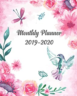 Monthly Planner 2019-2020: 24 Month Calendar Monthly and Weekly Schedule Organizer with Lovely Pink Floral Cover