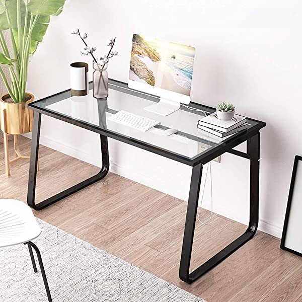 CDTO Tempered Glass Computer Desk Heat Resistant Modern Style Steel Frame Office Table Durable Writing Reading Study Desk C 100x60cm 39 4x23 6in