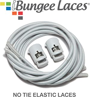 SpeedLaces iBungee Stretch Laces, Unisex, IBLW42, Light Gray Laces with Light Gray Lace Locks, 42-Inch