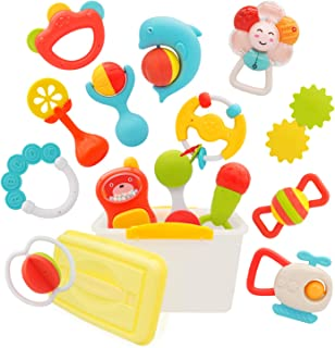 PEAINBOX 14pcs Baby Rattle Teether Toys,New Baby Gifts for Spin,Grab and Shake,Learning & Educational Toys for 3 6 9 12 Mo...