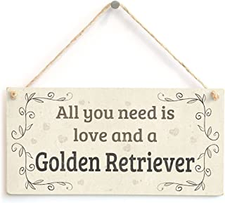 "Meijiafei All You Need is Love and A Golden Retriever - Country Home Style Home Accessory Gift Sign for Golden Retriever Dog Owners 10""x5"""