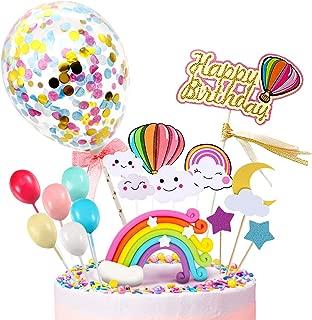 iZoeL Happy Birthday Cake Topper, Rainbow Cloud Cake Decoration, Confetti Balloons, For Boys Girls Kids Birthday Party Decoration