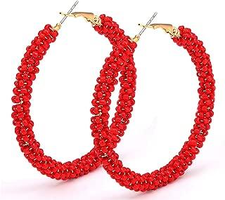 Beaded Hoop Earrings for Women Mixed Color Bead Dangle Earrings Bohemia Hoop Dangle Earring Studs for Girls
