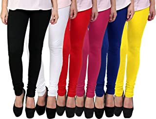 Fablab Women's Cotton Churidar Leggings Set(FLCLCOMBO6-8,BlackWhiteRedPinkBlueYellow,FREE SIZE) Combo Pack of 6