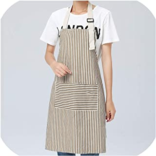 Theoutgoing Brief Adjustable Cotton Linen Stripe Kitchen Apron for Women Chef Apron Baking Accessories Commercial Restaurant Bib,Coffee,OneSize