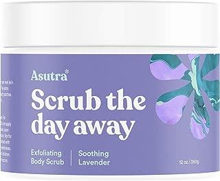 ASUTRA Dead Sea Salt Body Scrub Exfoliator (Soothing Lavender), 12 oz   Ultra Hydrating, Gentle, Moisturizing   All Natural & Organic Jojoba, Sweet Almond, Argan Oils