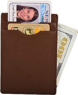 Leather RFID Blocking Cardcase Wallet Slim Wallet Men (Milk Brown)