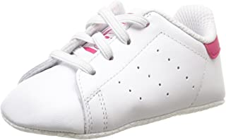 adidas Baby Girls' Stan Smith Crib Shoes, Footwear White/Footwear White/Bold Pink, 18-24 Months (18-24 Months)