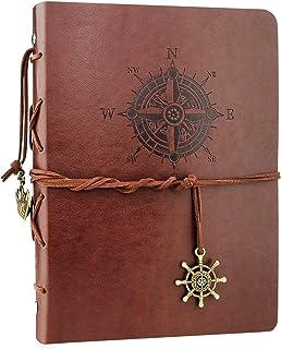 VEESUN Cuaderno de Cuero A5, Retro Libreta de Viaje, Cuaderno Vintage Agenda, Recargable Bloc de Libros en Blanco Diary Re...