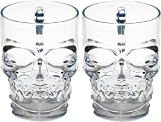 Circleware 76980 Skull Face Beer Mug Drinking Glasses with Handle, Set of 2, Heavy Base Funny Entertainment Glassware for Water, Juice and Halloween Decorations Beverage Gifts, 17.6 oz.