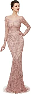 Women's Pearl Mermaid Evening Dress Long Sleeve Lace Prom Dress Bridal Pageant Gown