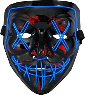 Halloween Mask LED Light Up Scary Glowing Mask EL Wire Light up for Festival Cosplay Party Halloween Costume