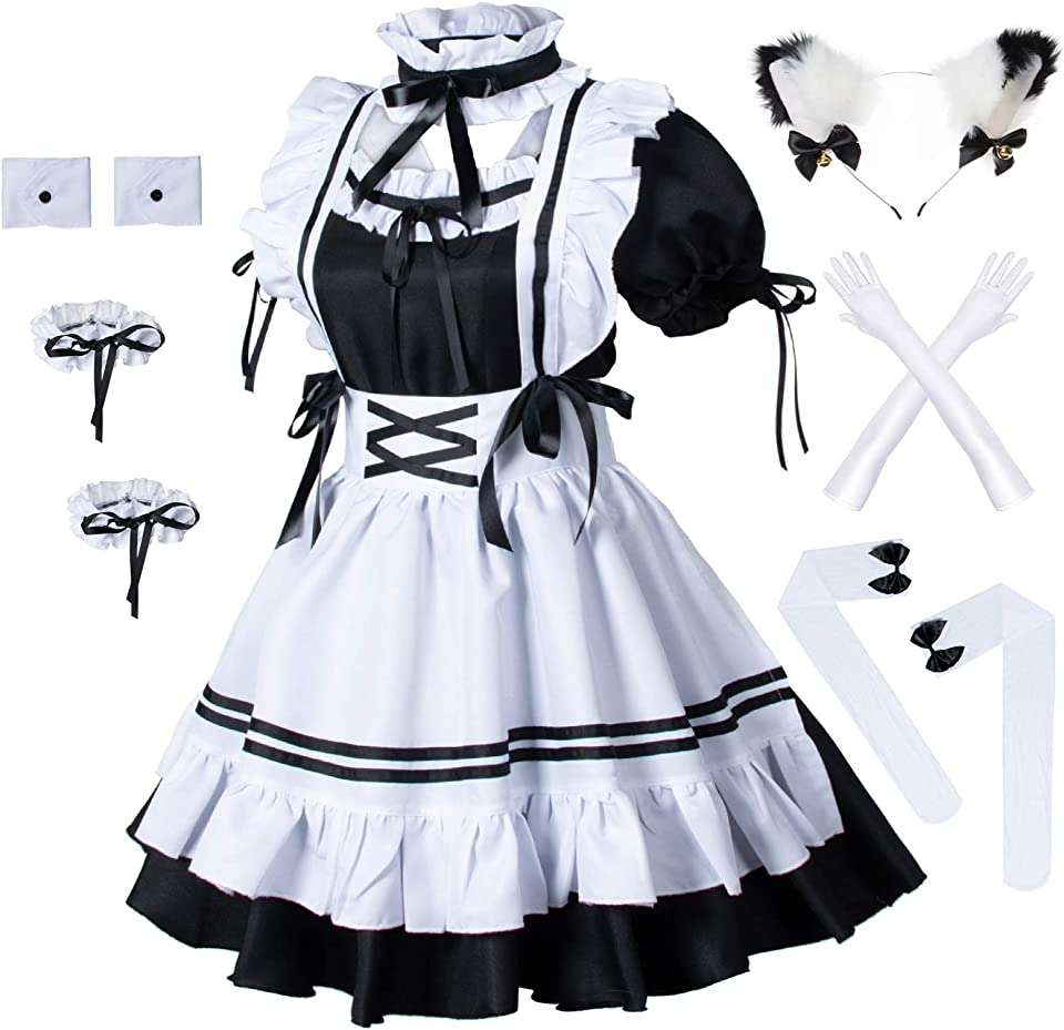 Anime French Maid Apron Lolita Fancy Dress Cosplay Costume Furry Cat Ear Gloves Socks Set