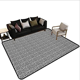 Leopard Print Runner Rug for Hallway Black and White Graphic Style Wild Jungle Animal Abstract Skin with Spots Stair Carpet Black White Area 2'x8'