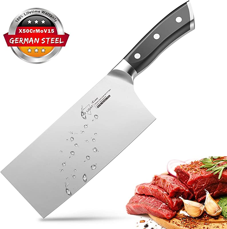 Cleaver Knife 7 Inch Butchers Knife German High Carbon Stainless Steel Kitchen Meat Chopper Razor Shape Chef S Knives With Ergonomic Handle