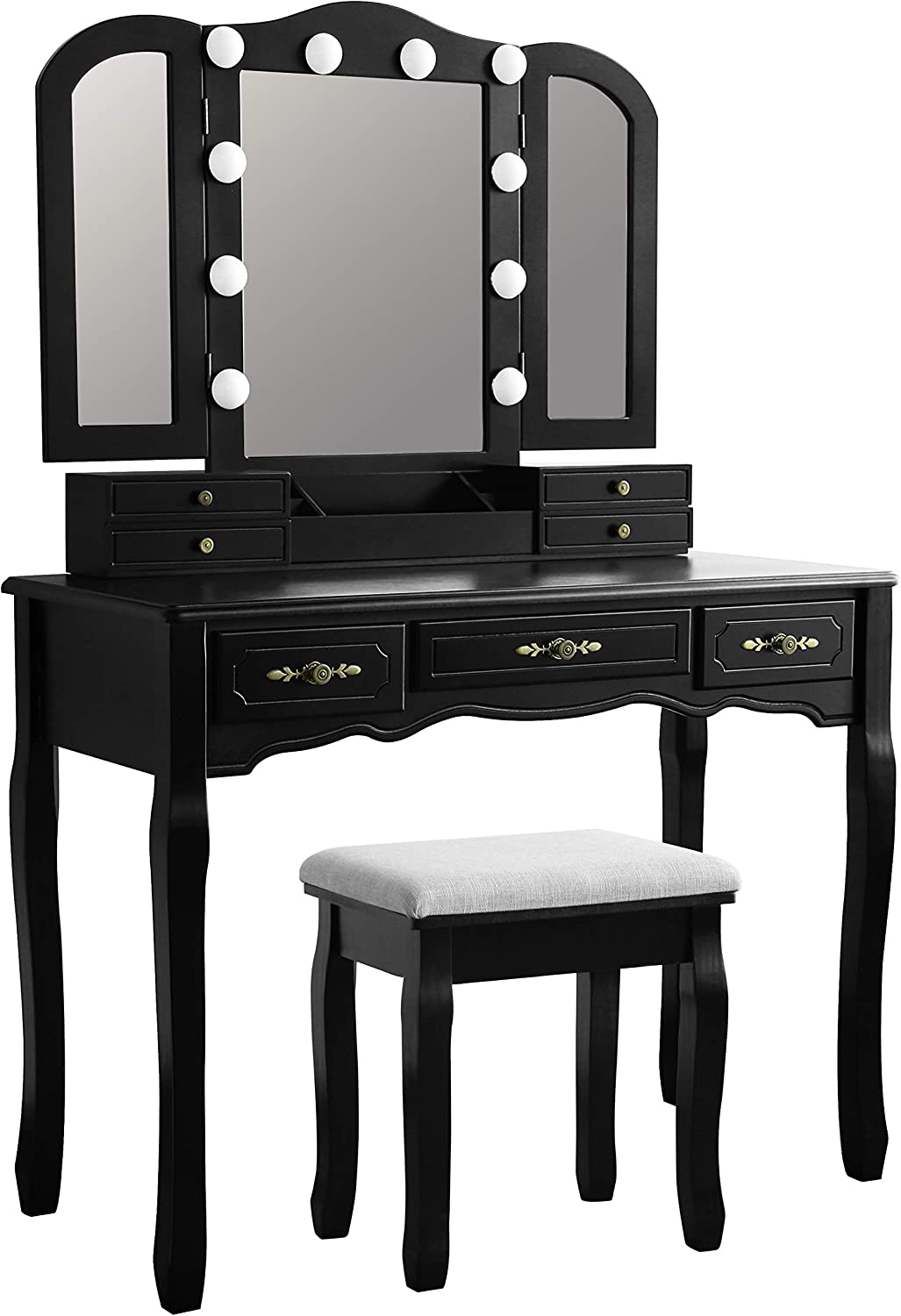 MUPATER Omaha Mall Makeup Vanity Desk Set Mirror Light Dr with Tri-Folding Ranking TOP7