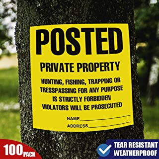"""Posted Private Property Signs, No Trespassing Signs, No Hunting Signs, No Trapping Signs, Weatherproof and Tear Resistant Compatible to Tyvek 100 pcs 11""""x 11"""