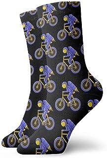 tangdouou, Astronauta con bicicleta Calcetines casuales Calcetines deportivos Calcetines de trabajo divertidos Unisex 11.8 pulgadas
