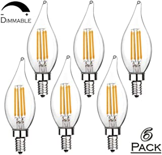 Dimmable Vintage Flame Tip E12 LED Filament Decorative Candelabra Base Bulbs - 6W 2700K Warm White 550LM CA11 Bulbs 60W Equivalent - Pack of 6 by Suwi Electric