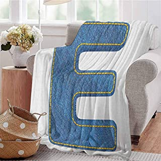 Luoiaax Letter E Children's Blanket Denim Blue Jeans Themed Symbol E from Alphabet ABC of Fabric Uppercase Letter Lightweight Soft Warm and Comfortable W70 x L90 Inch Blue Yellow