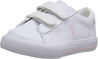 Polo Ralph Lauren Kids Girls' Easton II EZ Sneaker, White Tumbled Light Pink pop, 5 Medium US Toddler