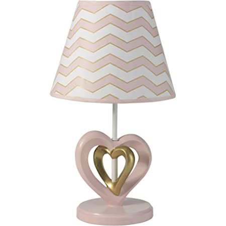 Lambs & Ivy Baby Love Lamp with Shade & Bulb - Pink/Gold/White Heart and Chevron