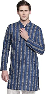 Men's Banded Collar Block Print Indigo Thigh Length Cotton Kurta Tunic
