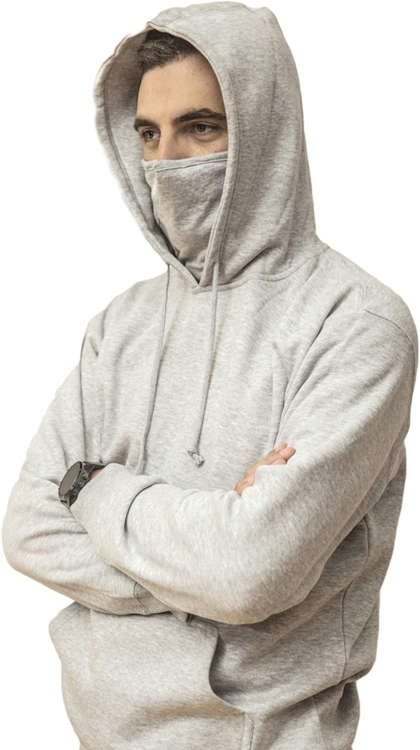 Clymate(TM) Men's Mid-weight Pullover Hooded Sweatshirt with 2 Detachable & Reusable Masks