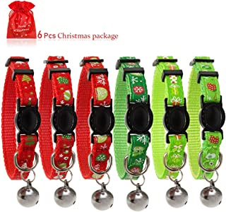 JIATECCO 6 PCS Christmas Kitten Collar- Soft Adjustable Breakaway Safety Cat Collar with Bell 8