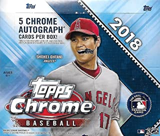 2018 Topps Chrome MLB Baseball JUMBO box (12 pk, incl. FIVE Autograph cards)