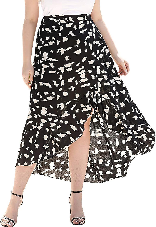 Noblik Plus Size Summer Skirts Women Casual Elastic Waist Print Irregular Hem Midi Skirts Holiday Beach Chiffon Skirt 4XL Size Black