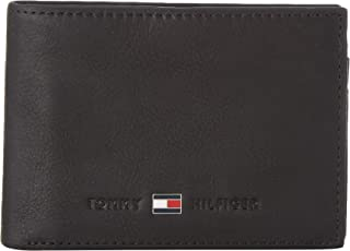 Tommy Hilfiger Men's Johnson Small Leather Wallet Highlights, Black, One