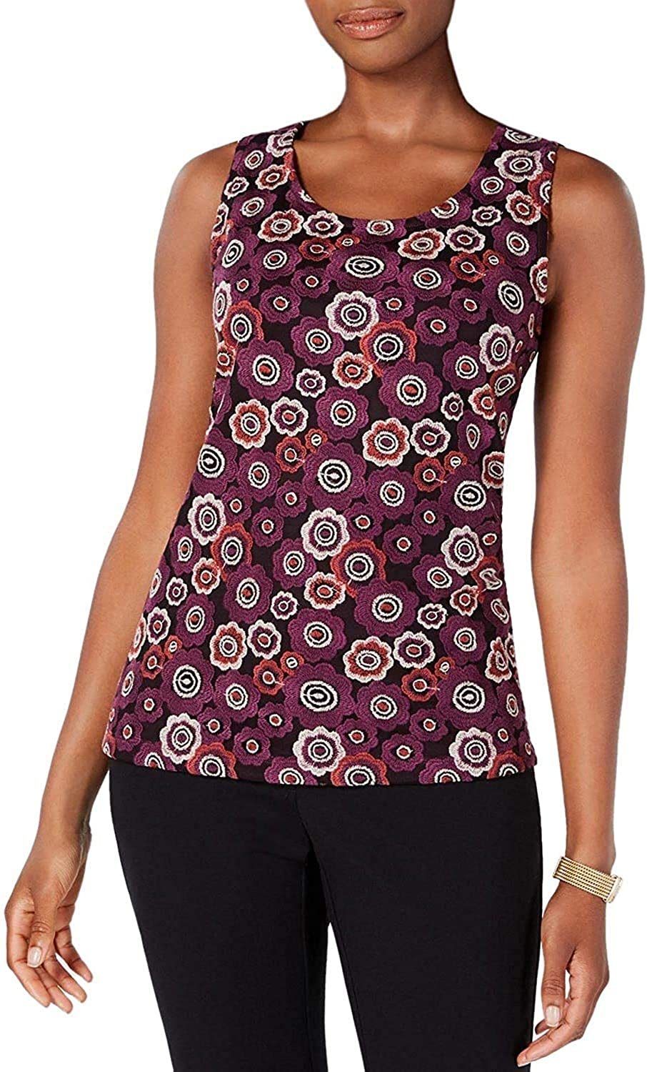 Genuine Free Shipping Opening large release sale Tommy Hilfiger Womens Embroidered Sleeveless Blouse Top