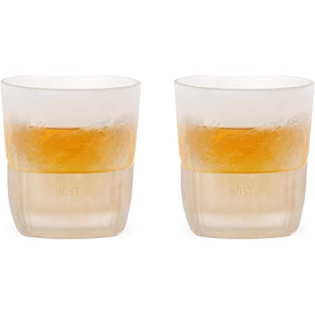 Amazon Com Host Freeze Cooling Cups For Whiskey Bourbon And Scotch Freezer Gel Chiller Double Wall Tumblers Set Of 2 9 Oz Glass Old Fashioned Glasses