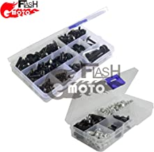 Flashmoto Motorcycle Screw Windshield Fairing Bolts Nuts Washer Kit Fastener Clips for suzukiGSXR1300 Hayabusa 2008 09 10 11 12 13 14 2015(Black & Silver)