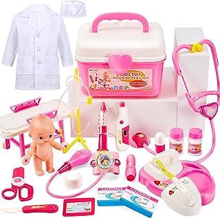 BUYGER Doktorväska barn läkarväska rollspel leksak flicka läkarkitel kostym leksak gåvor spel barnleksaker från 3 4 år (rosa)