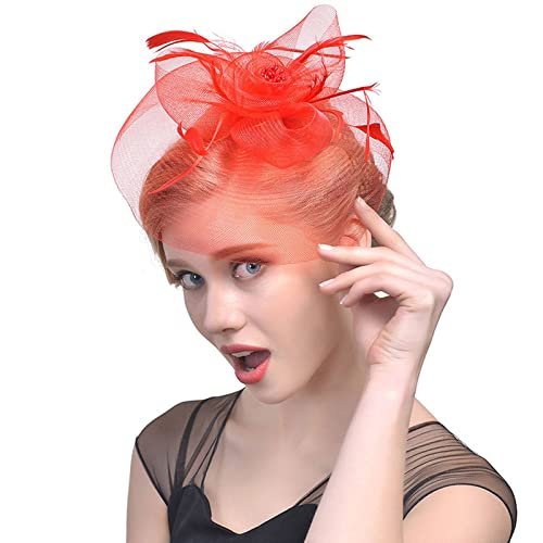 d2797263 Welrog Women's Vintage Flower Feather Mesh Net Fascinator Hat Party Wedding  Cocktail Sinamay