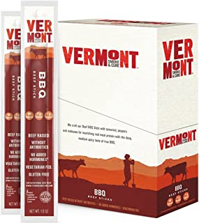 Vermont Smoke and Cure Meat Sticks, Beef, Antibiotic Free, Gluten Free, BBQ, Great Keto Snack, High in Protein, Low Sugar, 1oz Stick, 24 Count (32573)
